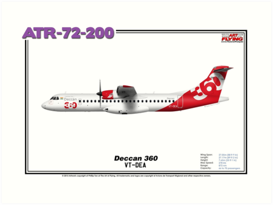 ATR 72-200 - Deccan 360 (Art Print) by TheArtofFlying