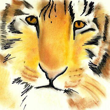 Chalk drawing Tiger art by JenStedmansArt