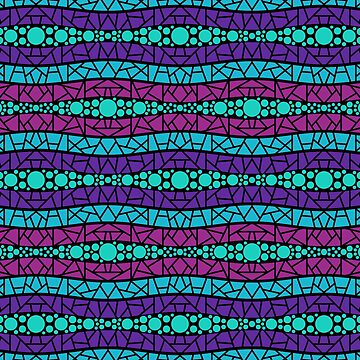 Mosaic Wavy Stripes in Purple, Pink, Blue on Black by MelFischer