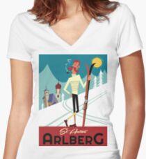 St Anton Arlberg poster Women's Fitted V-Neck T-Shirt
