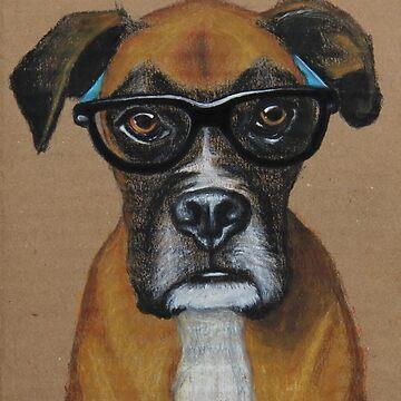 Hipster boxer perro de PaperTigressArt
