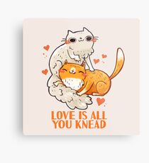 Cute Cats - Love is all you knead  Metal Print