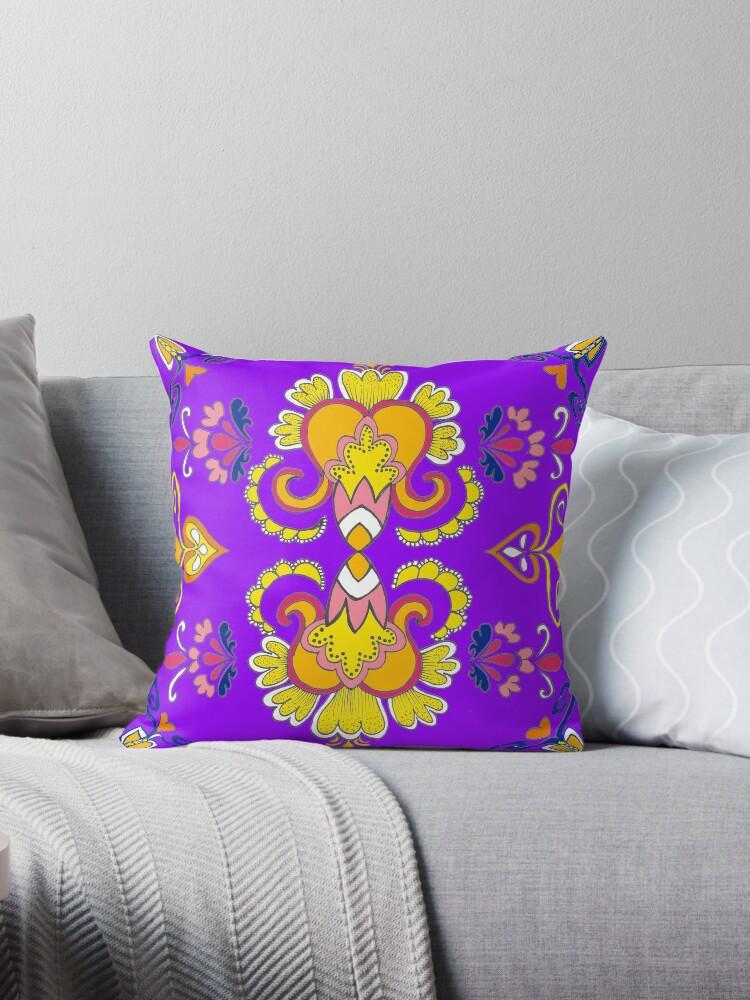 morroccan flower pattern purple  by Lozenga