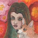 Young Girl with Corgi Dog Friend by SusanAlisonArt
