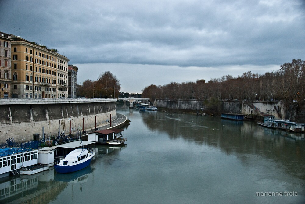 tevere river in rome italy by marianne troia