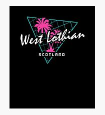 Retro 80s Neon 'West Lothian' Vintage Scotland Photographic Print