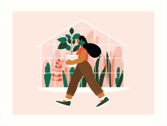 Beautiful girl with plant in pot by hallotoia