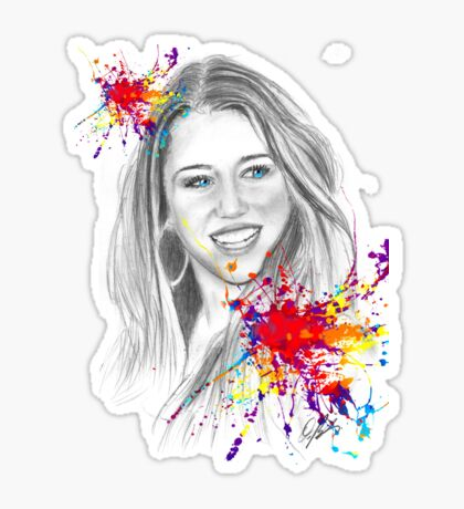 miley cyrus drawing Sticker