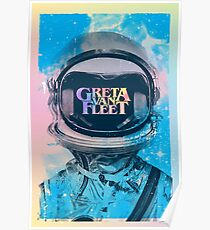 Top Salling Poster Greta astronaut Van Fleet Watercolor stains background Poster