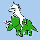 Unicorn Riding Triceratops by jezkemp