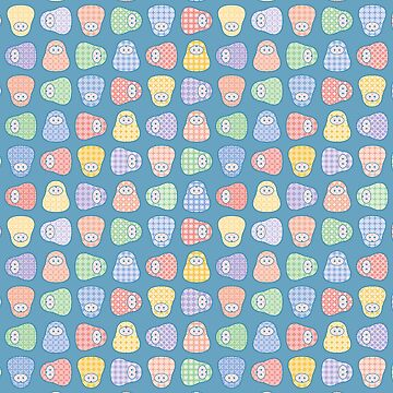Vector matryoshka doll seamless pattern with geometric flower design by limengd