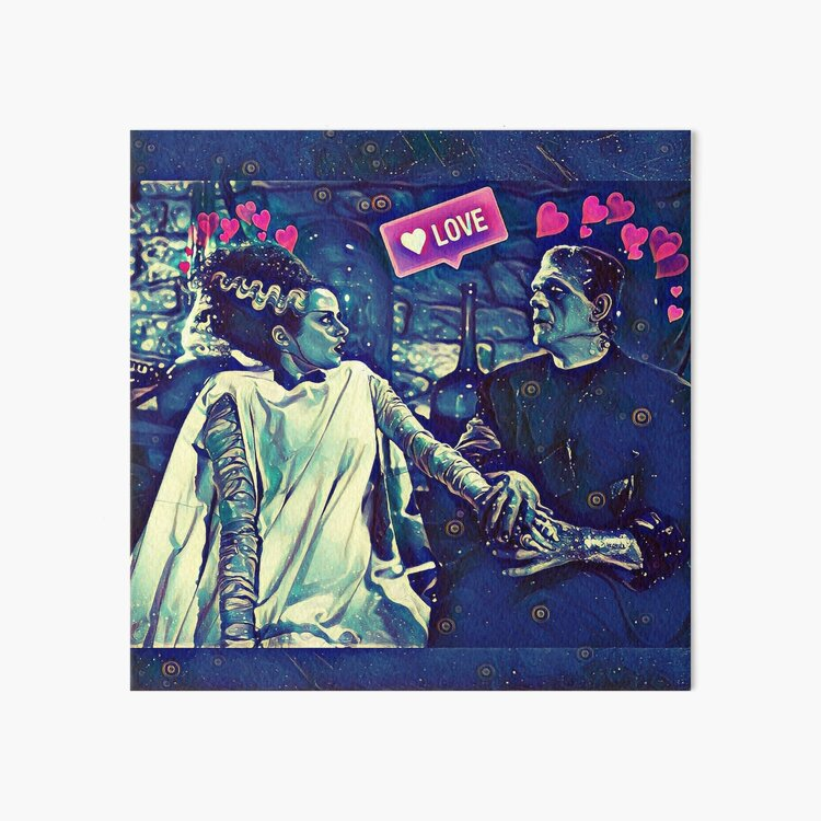 Frankenstein and Bride of Frankenstein  Art Board Print