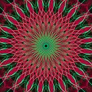 Detailed mandala in red and green colors by JBlaminsky