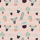 Soft Pastel Colored Cacti and Succulents by Pamela Maxwell