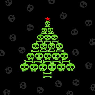 Green Skull and Bones Christmas Tree  by ArtVixen