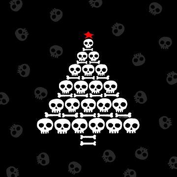 White Skull and Bones Christmas Tree  by ArtVixen