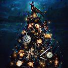 Christmas Steampunk Crow mechanical tree lanterns lights holiday by Edgot Emily Dimov-Gottshall