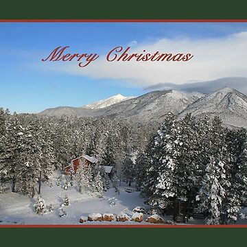 Christmas Card with snow, trees, and red house by sdawsoncc