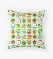 Christmas characters and ormanents in a colorful pattern Throw Pillow