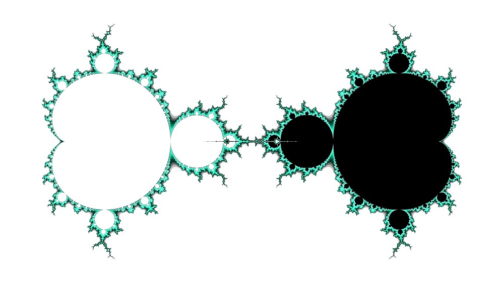 Exquisite Blue Green Mandelbrot - Black by Rupert Russell