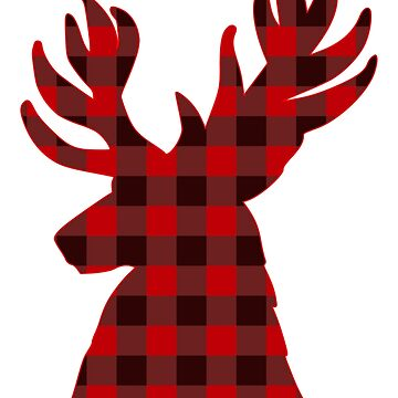 Deer Silhouette Christmas Plaid by YLGraphics