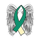 Winged Awareness Ribbon (Teal & Cream) by blakcirclegirl
