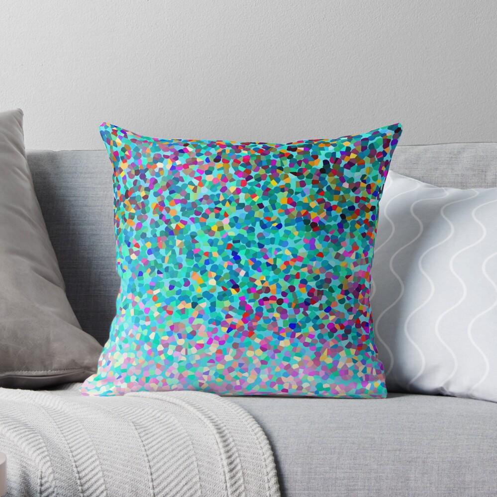 Aqua Blue Mehrfarbige Abstrakte Kunst Formt Muster Dekokissen
