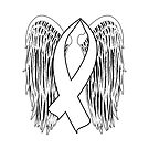 Winged Awareness Ribbon (White) by blakcirclegirl