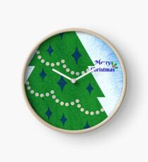 Merry Christmas Tree and Holly with berries and snow Clock