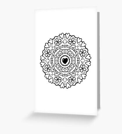 Just Add Colour - Mandala Love Greeting Card