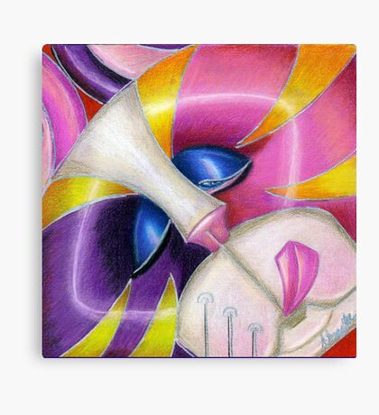 Square Cat Round Hole in Pink Canvas Print