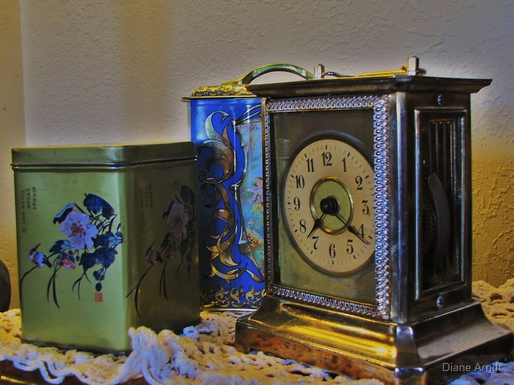 161 Year Old Carriage Clock with Tins by Diane Arndt