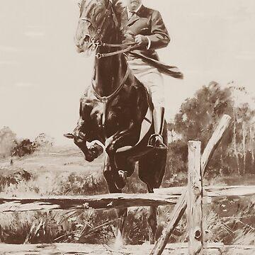 Teddy Roosevelt Jumping Fence On Horseback  by warishellstore