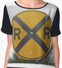 Railroad Crossing Road Sign #Railroad #Crossing #Road #Sign #RailroadCrossing #RoadSign #RailroadCrossingRoadSign #traffic #safety #danger #caveat #symbol #forbidden #travel #guidance #sky #street Chiffon Top