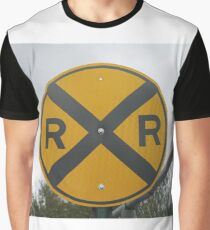 Railroad Crossing Road Sign #Railroad #Crossing #Road #Sign #RailroadCrossing #RoadSign #RailroadCrossingRoadSign #traffic #safety #danger #caveat #symbol #forbidden #travel #guidance #sky #street Graphic T-Shirt