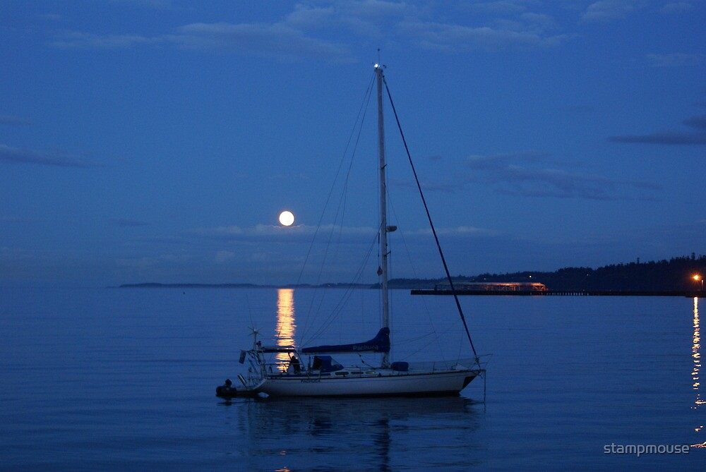 boat in the moonlight by stampmouse