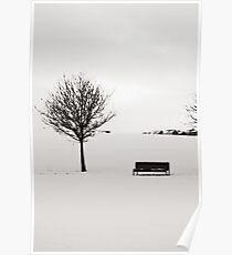Urban Winter - Hogganfield Loch, Glasgow, Scotland, UK Poster