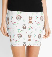 Cute owl, hedgehog and deer in love holding flowers and hearts Mini Skirt