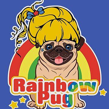 Rainbow Pug by darklordpug