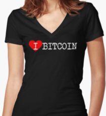 I Heart Bitcoin | Love Bitcoin Women's Fitted V-Neck T-Shirt