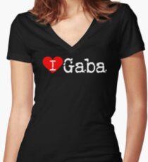 Camiseta entallada de cuello en V I Heart Gaba   Amor Gaba