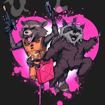 Raccoon Love by LVBART