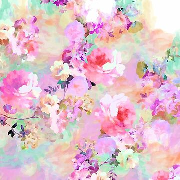 Romantic Modern Floral Watercolor Mint Pink Pattern by TeeVision