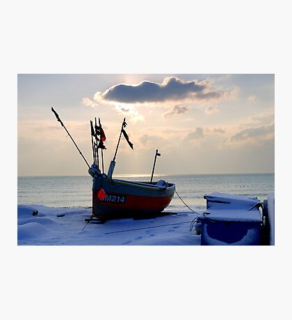 Fishing boat in the snow Photographic Print