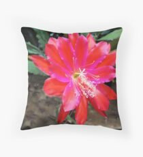 Red Orchid Cactus Flower Floor Pillow