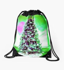 Christmas Tree White and Green Theme and a Pink Heart Drawstring Bag