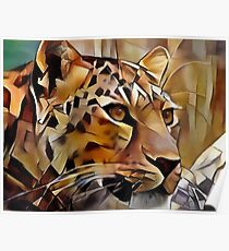 Leopard Toffee - Lea Roche paintings, leopardo, wild animal, panthere Poster