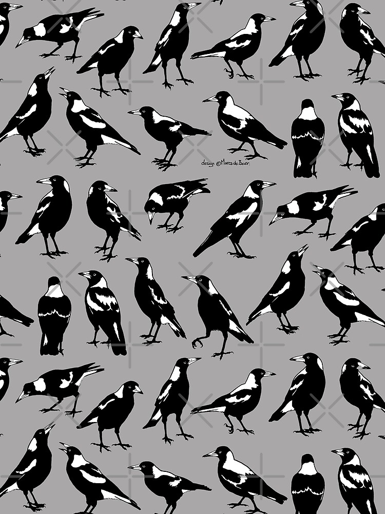 AUSTRALIAN MAGPIES - tee shirts, other apparel & homewares by pavlovais