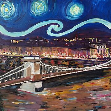 Starry Night in Budapest Hungary with the Danube and the Parliament - Van Gogh Inspirations by artshop77
