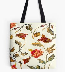 floral pattern on cream Tote Bag